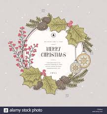 lovely merry wreath card design in style