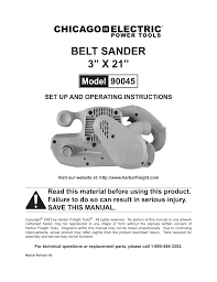 chicago electric belt sander 90045 user manual 16 pages