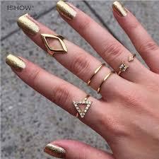 knuckle rings silver images 5 pcs set shiny punk polish gold silver stacking plain band midi jpg
