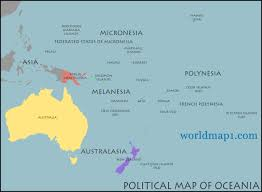 map of australia and oceania countries and capitals map oceania