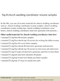Wedding Coordinator Job Description Top8churchweddingcoordinatorresumesamples 150613022419 Lva1 App6892 Thumbnail 4 Jpg Cb U003d1434162306