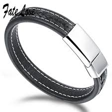titanium steel bracelet images Us 14 28 fate love rock style 12mm width genuine leather jpg