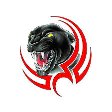 panther face black and red tattoo design