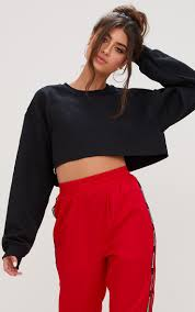 crop top sweater black cropped sweater tops prettylittlething