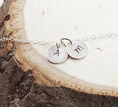 initials jewelry two initials necklace personalized jewelry sterling silver monog