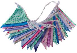 Pretty Bunting Flags Floral Double Sided Fabric Bunting 10m 30 Flags Vintage Shabby