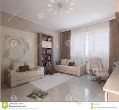 children room minimalist style interior design 3d render stock
