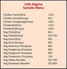 cafe nagina menu mumbai central south mumbai get prices menu