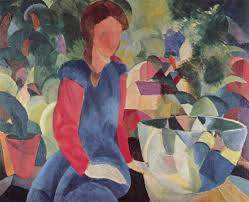 girl with a fish bowl august macke