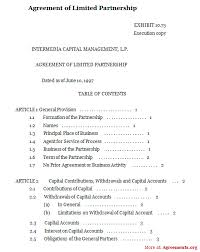 agreement of limited partnership sample agreement of limited