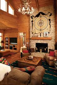rustic living room using wooden coffee table and southwest decor