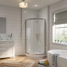 Bathroom Corner Showers Shop Ove Decors Chrome Acrylic Floor 2 Corner