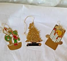 gold plated christmas ornaments vtg lot of 3 gold plated christmas ornaments g duchin vernon