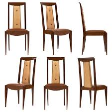 French Art Deco Solid Walnut Dining Chairs Jean Marc Fray - Walnut dining room chairs