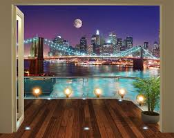 walltastic 8 x 10 ft the view collection brooklyn bridge nyc walltastic 8 x 10 ft the view collection brooklyn bridge nyc wallpaper mural multi colour amazon co uk kitchen home