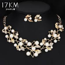 crystal pearl necklace set images Gold color simulated pearl jewelry set jpg