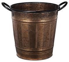 Outdoor Vase Bronzed Metal Planter Vase With Handles Rustic Outdoor Pots