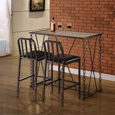 home bar table set rustic industrial chain link bar table set bistro and bar table