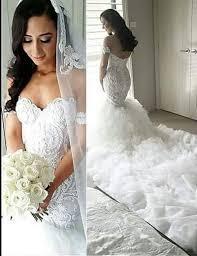 mermaid lace off the shoulder chapel train ruffles wedding dress