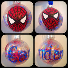 spiderman or spidergirl ornament hand painted kids christmas