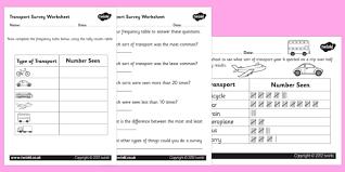 transport survey worksheets transport survey surveys