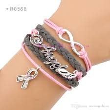 infinity bracelet leather images Infinity angel wings breast cancer awareness ribbon cancer charm jpg