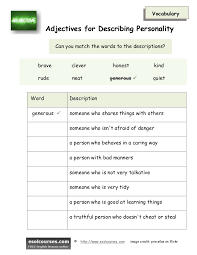 adjectives for describing personality esl vocabulary worksheet secured