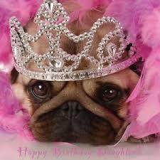 daughter happy birthday card princess pug puppy dog u0026 free 1st