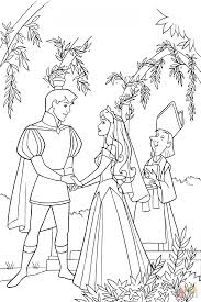 aurora and phillip holds hands coloring page free printable