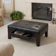 black coffee table with storage amazon com tucson black leather tufted top coffee table w drawer