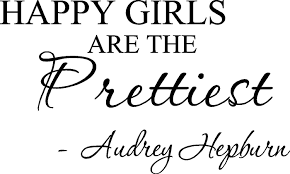 amazon com happy girls are the prettiest audrey hepburn vinyl amazon com happy girls are the prettiest audrey hepburn vinyl wall art inspirational quotes and saying home decor decal sticker home kitchen
