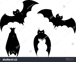set four scary bats halloween spot stock vector 34853878
