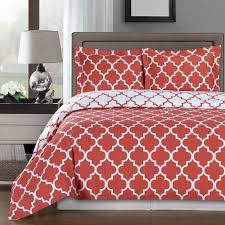 modern moroccan quatrefoil coral white 3pc cotton duvet cover set