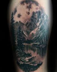 black work mountain landscape tattoo half sleeve on gentleman