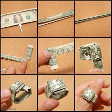 fold a dollar bill to make a finger ring ring craft and origami