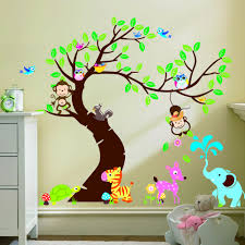 Elephant Wall Decals Nursery by Large Size Forest Park Tree Animals Giraffe Owl Lion Wall Stickers