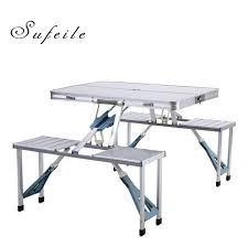 Portable Folding Picnic Table Sufeile Outdoor Aluminum Folding Table Alloy Conjoined Folding