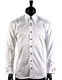 axxes mens white high collar french cuff button down formal dress