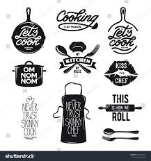 cooking related typography set quotes about stock vector 457532242