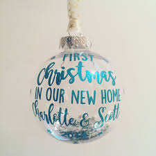 first christmas home bauble ornament glitter text