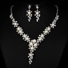 pearl necklace wedding jewelry images Pearl necklace earrings wedding jewelry set faybox bridal faybox jpg