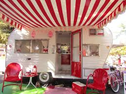 Vintage Travel Trailer Awnings Red White And Beautiful An Amazing Vintage Trailer Restoration