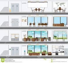 cutaway office building with interior design plan illustration