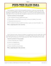 middle main idea reading passage worksheet
