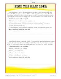 middle main idea reading passage worksheet