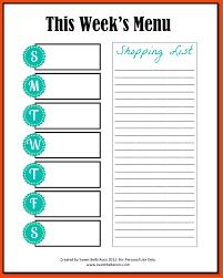 weekly menu template corol lyfeline co