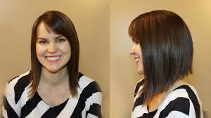 hair style angled toward face how to cut womens hair dramatic bob haircut youtube