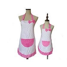 tablier cuisine fille mignon bowknot mère et fille tablier coton polka dot volants