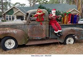 Christmas Vehicle Decorations Christmas Decorations On Old Truck Stock Photos U0026 Christmas