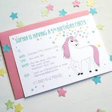 unicorn personalised birthday party invitations by superfumi